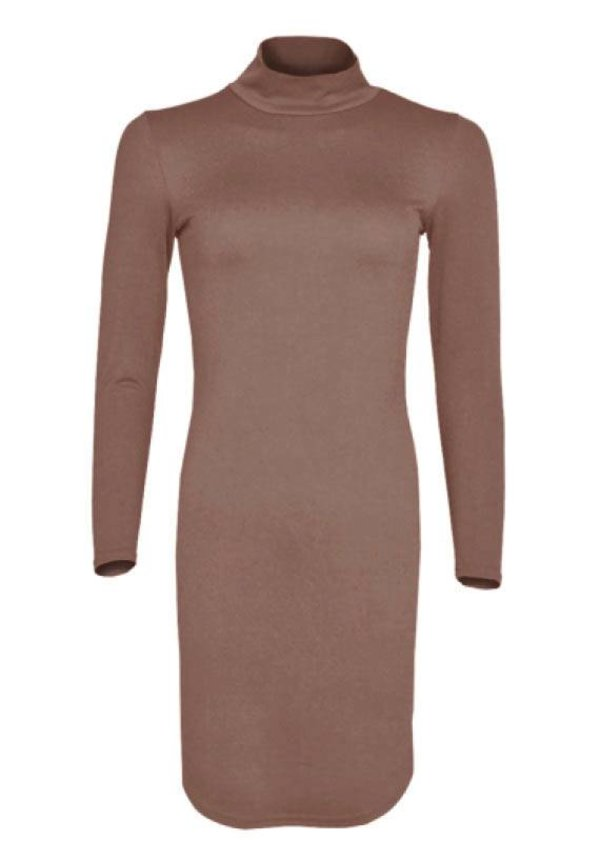 CURVE CREPE DRESS MOCCA
