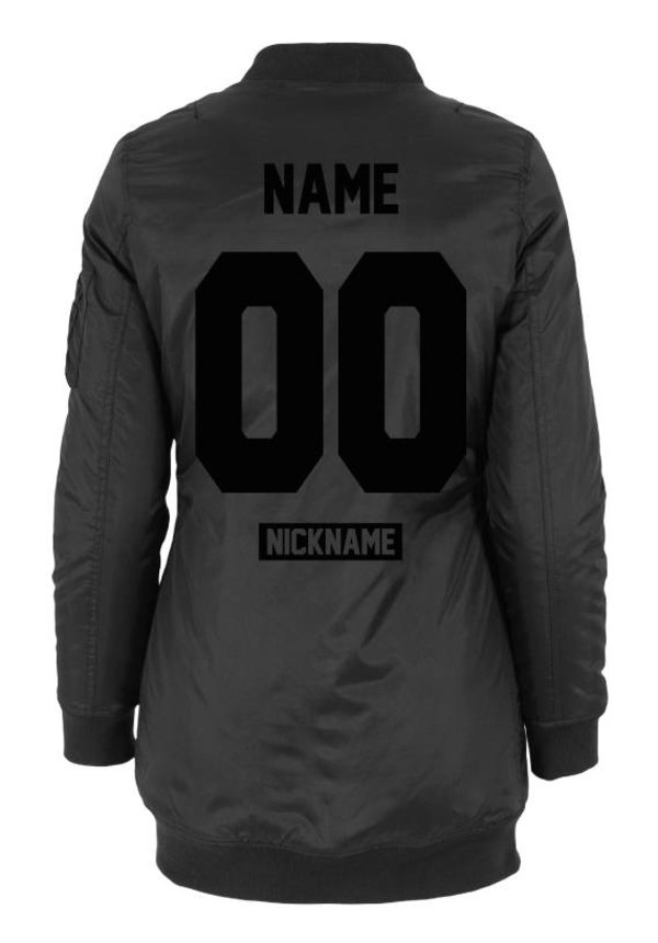 CUSTOM TEAM NUMBER LONG BOMBER JKT ALL BLACK EDITION (WMN)