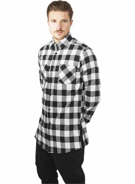 SIDE-ZIP LONG FLANNEL SHIRT BLACK/WHITE (MEN)