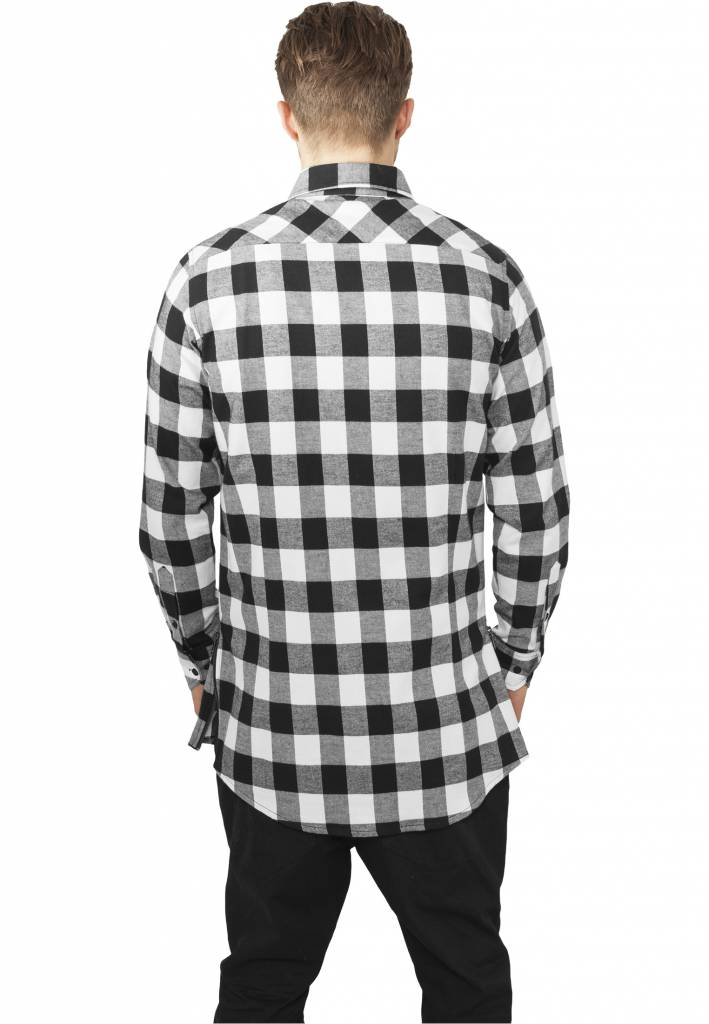 SIDE-ZIP LONG FLANNEL SHIRT BLACK / WHITE (MEN) - SUGAR&spikes
