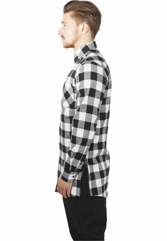 Side Zip Long Flannel Shirt Black White Men Sugar Spikes