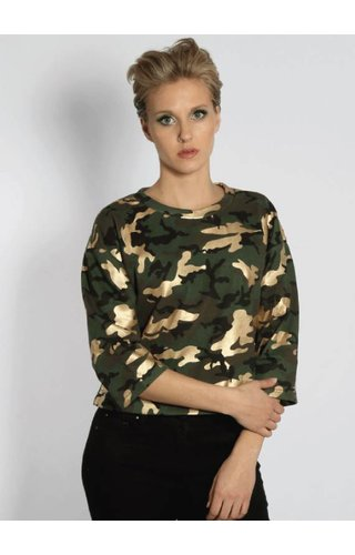 SIXTH JUNE CAMO GOLD CROP SWEATER (WMN)