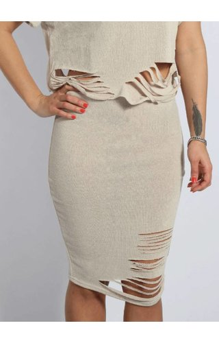 SIXTH JUNE DESTROYED SKIRT HEATHER BEIGE (WMN)
