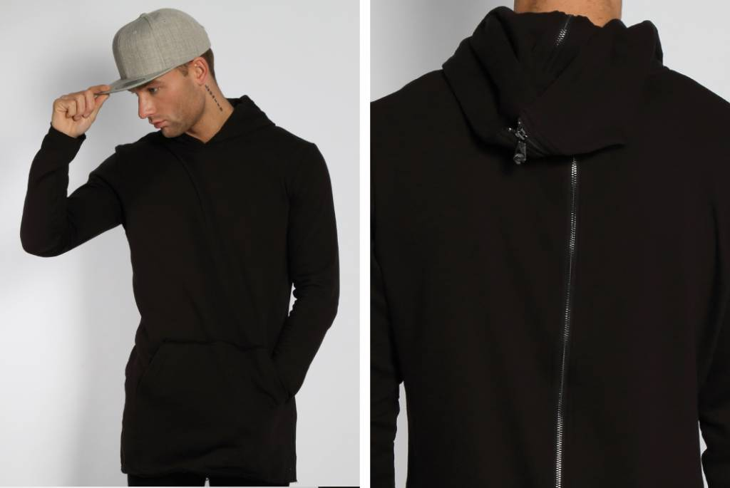 Back Zipper Long Hoody Black Men Sugar Amp Spikes