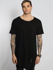 FRONT ZIP LONG TEE BLACK