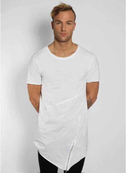FRONT ZIP LONG TEE WHITE