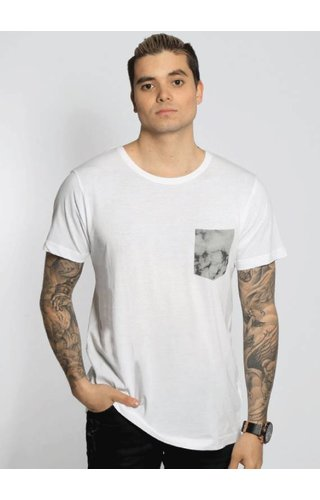 MARBLE POCKET TEE WHITE