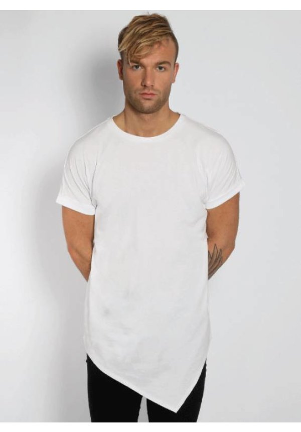 ASYMMETRIC LONG TEE WHITE