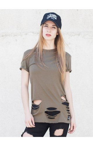 SIXTH JUNE DESTROYED TEE KHAKI (WMN)