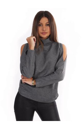 LA SISTERS OPEN SHOULDER RIBBED SWEATER GREY