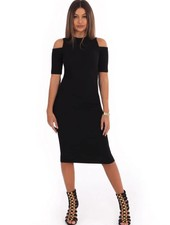 LA SISTERS OPEN SHOULDER RIBBED DRESS BLACK