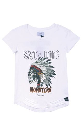 SIXTH JUNE MONSTER DESTROYED TEE WHITE (WMN)