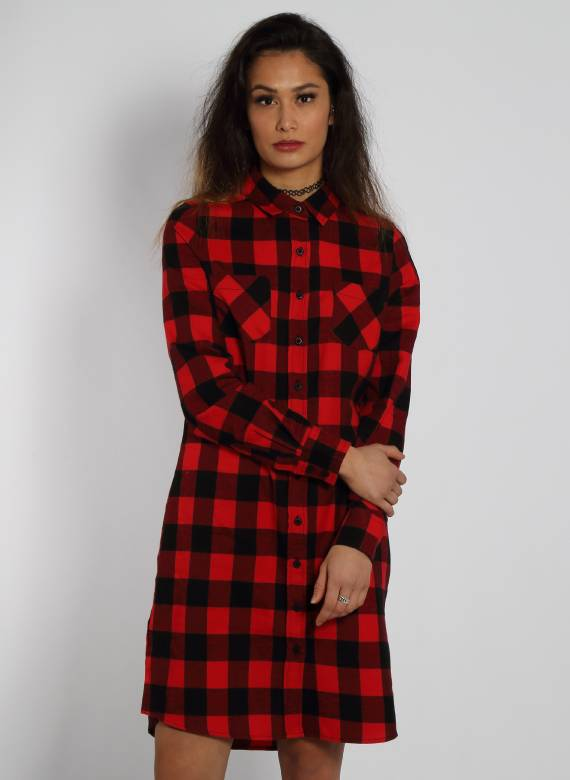 FLANNEL TSHIRT DRESS BLACK/RED (WMN)