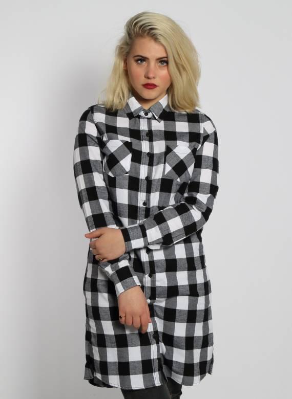 FLANNEL TSHIRT DRESS BLACK/WHITE (WMN)