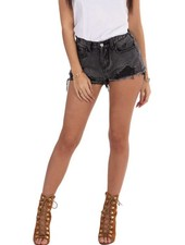 LA SISTERS HIGH WAISTED DESTROYED SHORT GREY