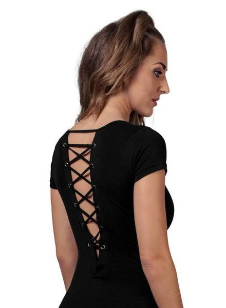 LACE UP BODYSUIT BLACK