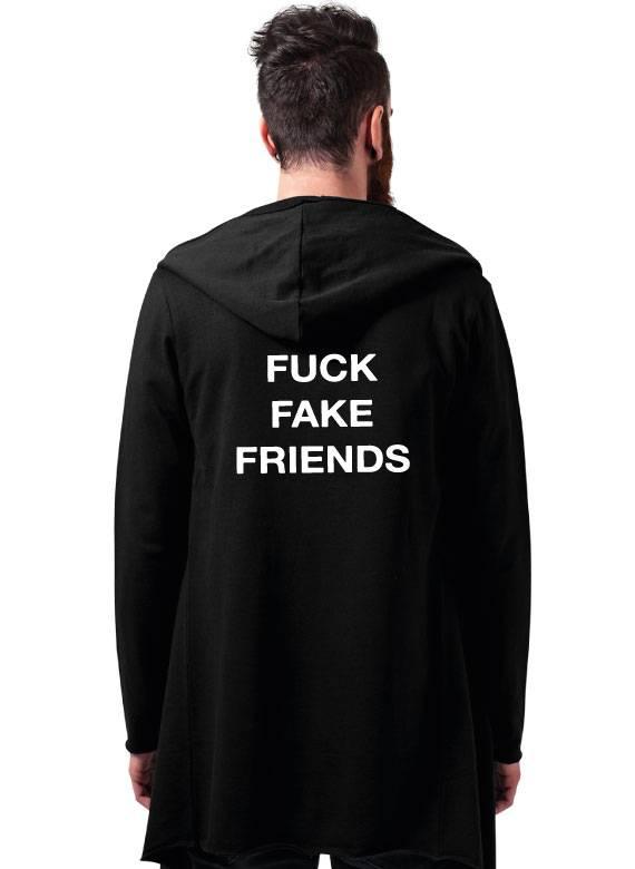 FUCK FAKE FRIENDS LONG CARDIGAN