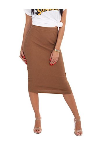 LA SISTERS LONG RIBBED TUBE SKIRT BEIGE