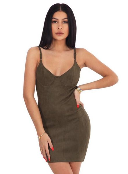 LA SISTERS SUEDE BUSTIER DRESS ARMY