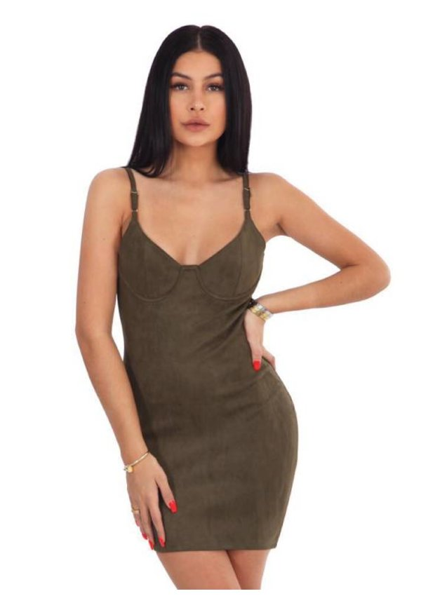 SUEDE BUSTIER DRESS ARMY