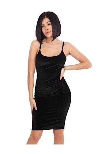 LA SISTERS VELVET STRAP DRESS BLACK