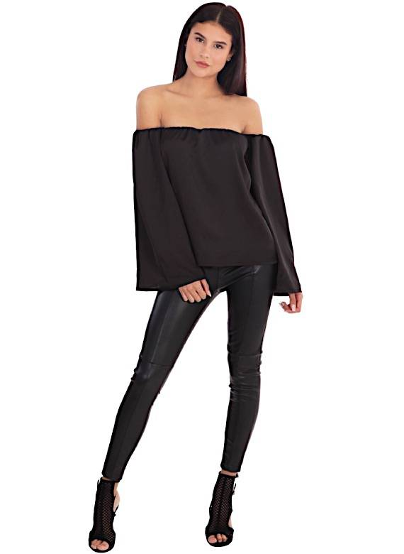 LA SISTERS SATIN BARDOT TOP BLACK