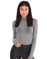 LA SISTERS MESH TURTLE NECK TOP GREY