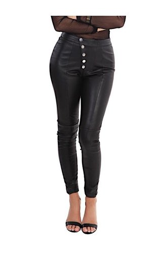 LA SISTERS LEATHER BUTTON LEGGING BLACK