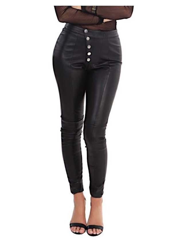 LEATHER BUTTON LEGGING BLACK