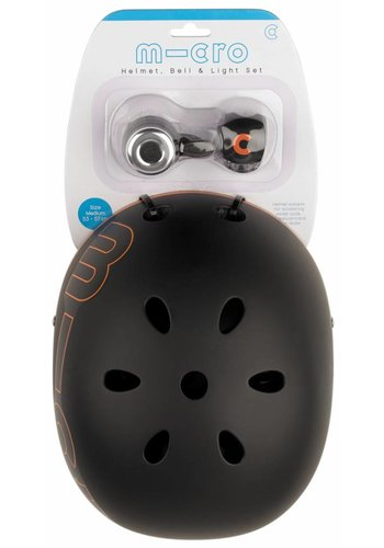 Micro safety set Black helmet/bell/light