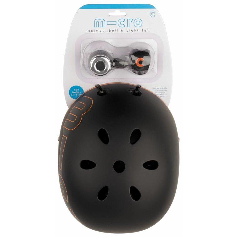 Micro safety set Black helmet/bell/light