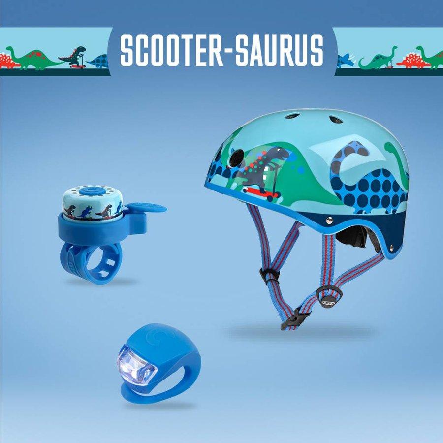 Micro safety set Dino helmet/bell/light