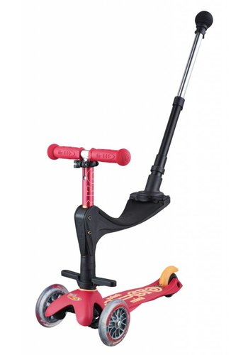 Mini Micro scooter 3in1 Deluxe Push Ruby Red
