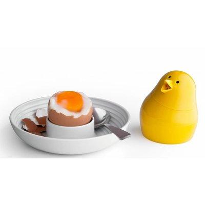 Jib Jib Geel Peper en zout strooier met eierdop