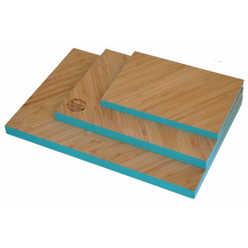 Set Bamboe Snijplanken Diagonaal met Turquoise rand 3 stuks
