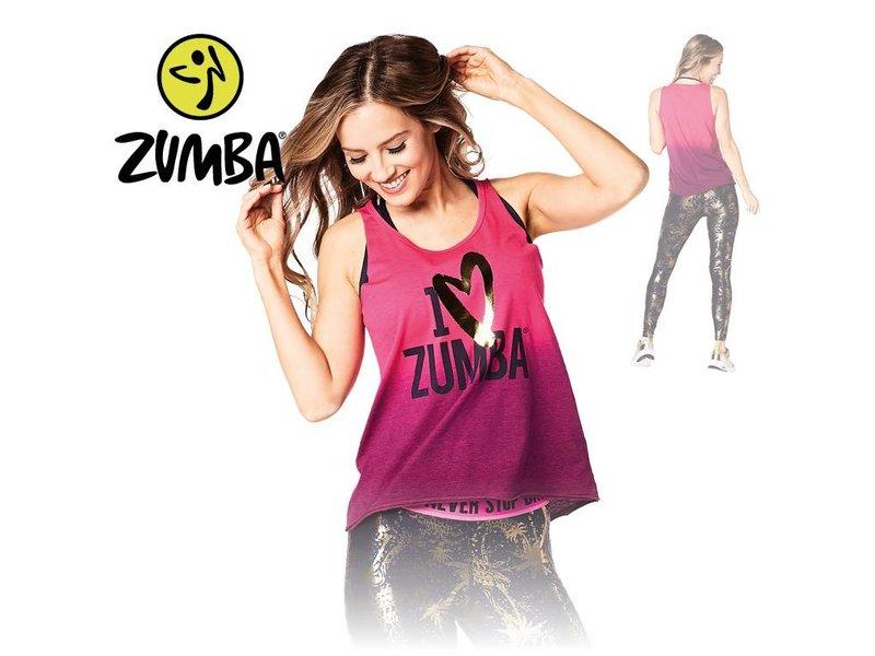 """Zumba Loose Tank """"I ♡ Zumba"""" - Pink"""