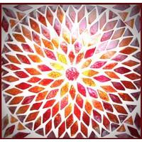 Tafellamp bol klein rood/oranje mozaiek