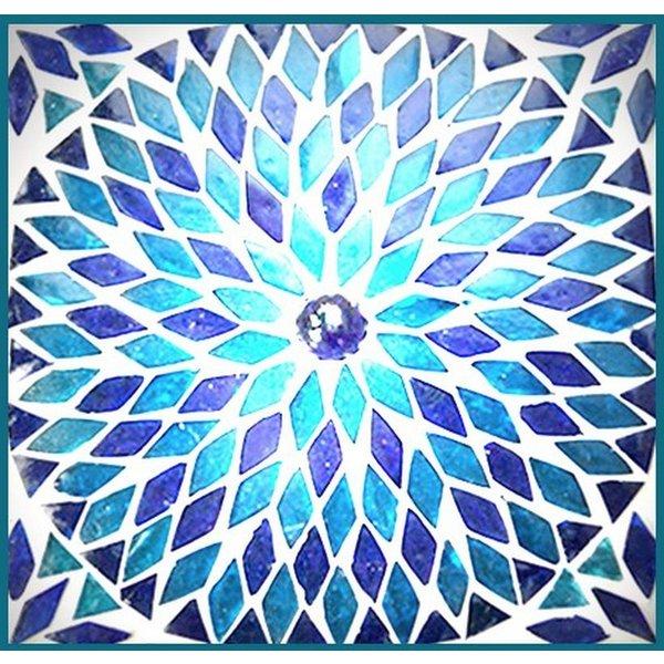 Tafellamp bol groot blauw mozaiek