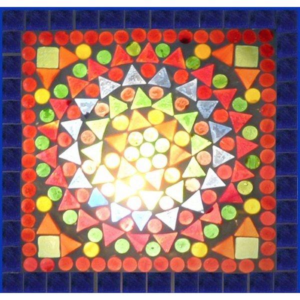 Tafellamp bol groot gekleurd mozaiek