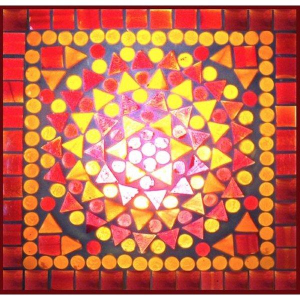 Tafellamp 60 rood/oranje mozaiek
