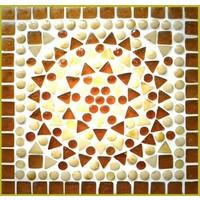 Wandlamp bruin/beige mozaiek