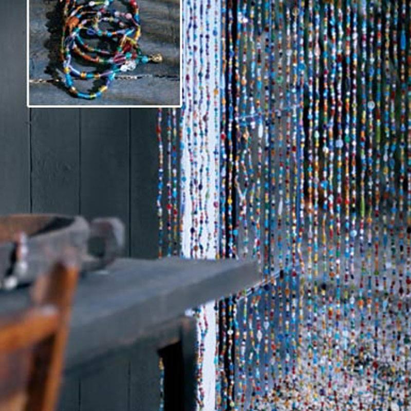Glaskralen gordijn gekleurd - dePauwWonen