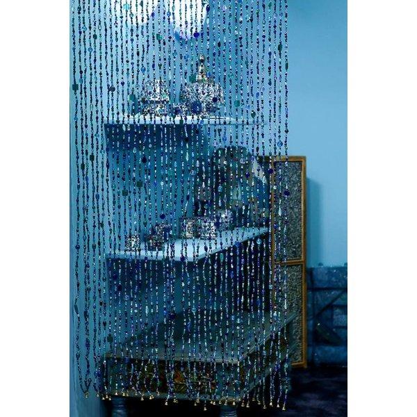 Glaskralen gordijn blauw