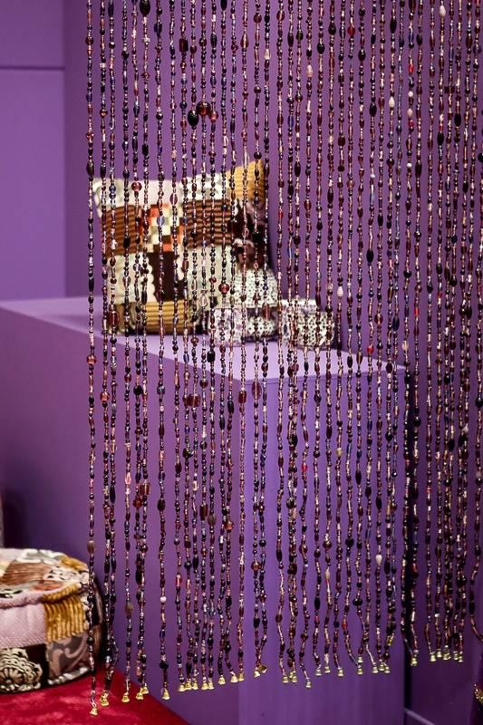 Glaskralen gordijn paars - dePauwWonen