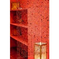 Glaskralen gordijn rood/oranje