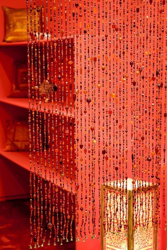 Glaskralen gordijn rood/oranje - dePauwWonen