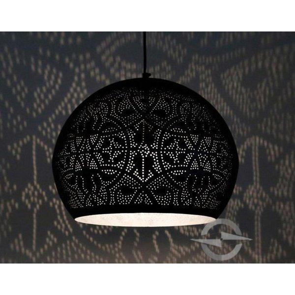Filigrain hanglamp zwart/zilver met 2 bijpassende waxinelichtjes cadeau!