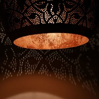 Filigrain hanglamp koper/koper met 2 bijpassende waxinelichtjes cadeau!