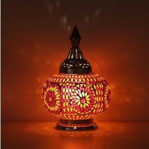 Tafellamp pompoen rood/oranje mozaiek