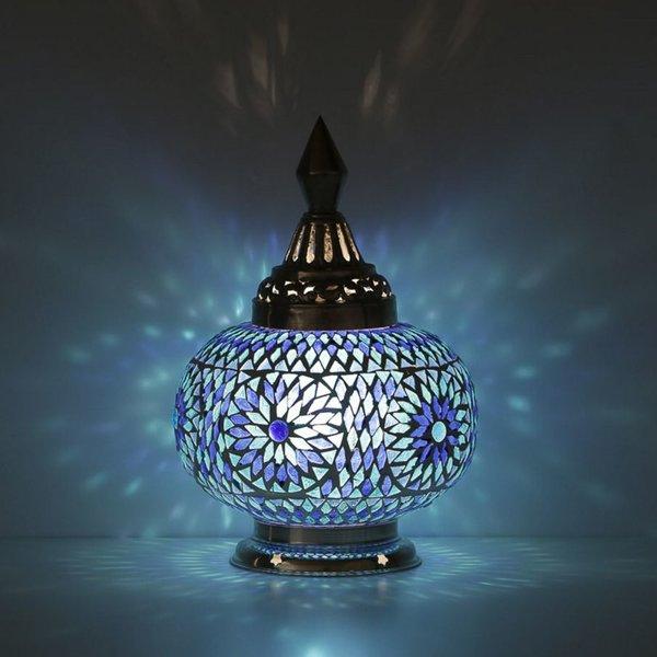 Tafellamp pompoen blauw mozaiek